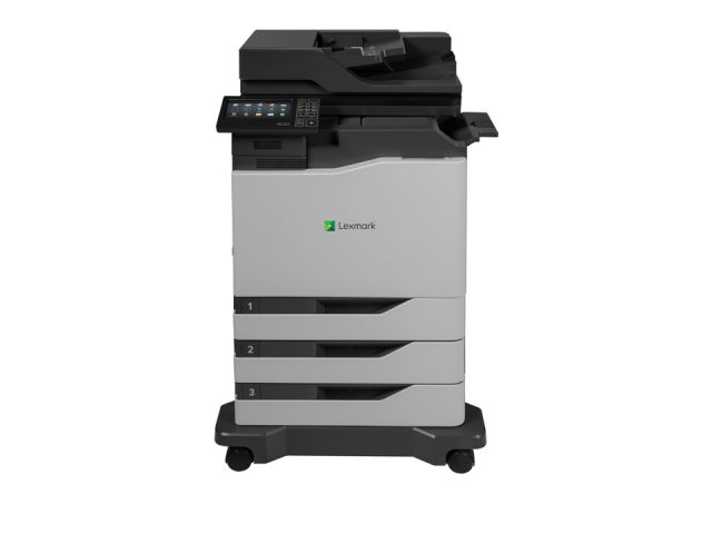 XC6152 + inline stapler + 2x 550 tray option + caster base FRONT